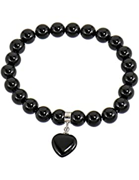 Lassiere Damen Armband Herz Anhänger Flex-Armband Onyx schwarz