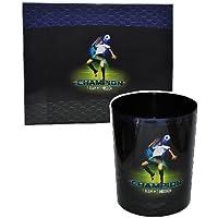 Preisvergleich für 2 tlg. Set: Schreibtischunterlage + Papierkorb Fussball - Unterlage / Knetunterlage / Tischunterlage für Jungen Kinder Fußball Champion Sport