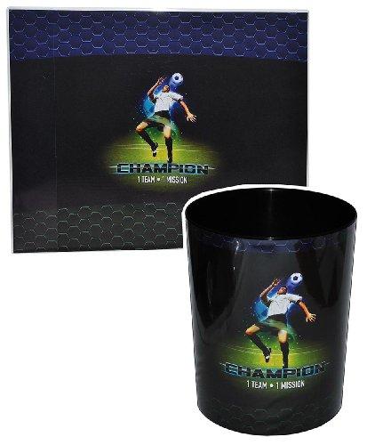 2 TLG. Set: Schreibtischunterlage + Papierkorb Fussball - Unterlage / Knetunterlage / Tischunterlage für Jungen Kinder Fußball Champion Sport