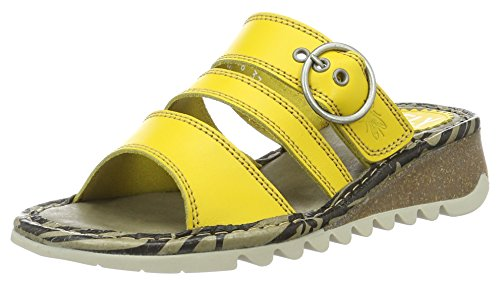 FLY London Thea724, Sandales Bout Ouvert Femme Jaune (Lemon 007)