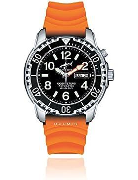Chris Benz DEEP Taucheruhr 1000 Automatik mit orangenem Kautschukarmband