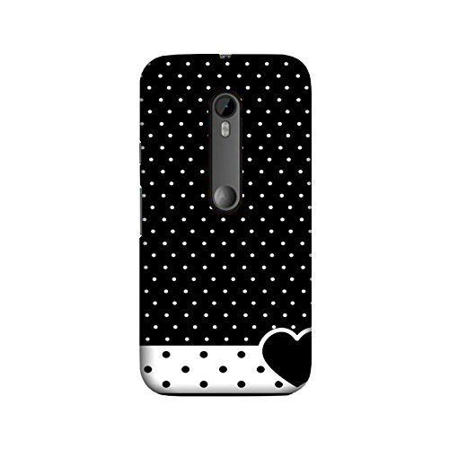 theStyleO Quality Printed Back Cover for Moto G3 (3rd Gen)/Moto G Turbo Edition [Black Heart Dotted Pattern]