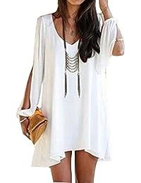 minetom mujer casual vestido de verano vcuello vestido de fiesta moda playa vestido