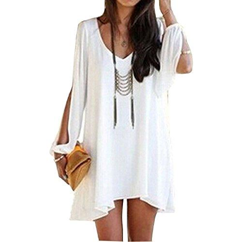 Minetom Mujer Casual Vestido De Verano V-Cuello Vestido De Fiesta Moda Playa Vestido Blanco 44