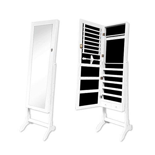 RULOTE-Armario-Joyero-en-Espejo-Espejo-RLT01-con-Diseo-Elegante-Stand-Sobre-Piso-Insert-Terciopelo-Negro-y-Marco-Exterior-Color-Blanco