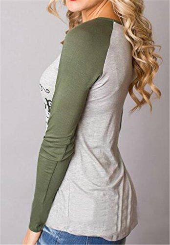 AILIENT Donna Moda Rotondo Collo T-Shirt Manica Lunga Allentata Casuale Camicetta Stampate Maglietta Green