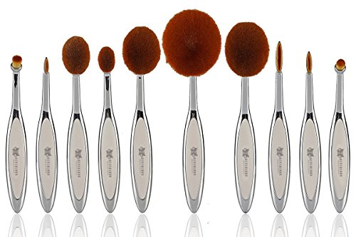 Neverland Beauty 10Pcs Hit Color Silver + White Toothbrush Elite Make-up Brushes Set Powder Foundation Contour with Gift Box