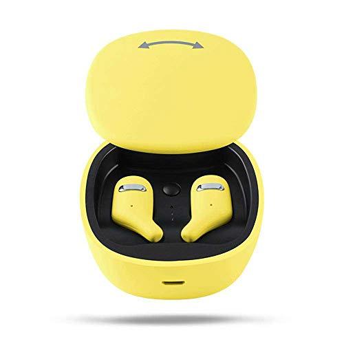 Yimiky Drahtlose Kopfhörer, TWS Bluetooth Kopfhörer mit Mikrofon Sport Ohrhörer für IOS Android Bluetooth Ohrhörer Noise Cancelling Mode Ohrhörer mit Ladekoffer für Frauen Männer Jugendliche (Gelb)