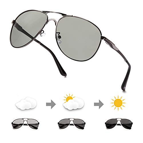 ELIVWR Photochromatisch polarisierte Sonnenbrille Männer Frauen 100% UV-Schutz für Golf Fischen Tag und Nacht (Grauer Metallrahmen/photochrom polarisierte Linse)