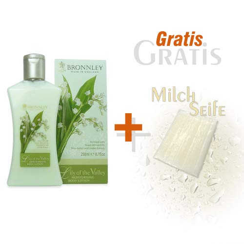 Bronnley Körperlotion Lily of the Valley 250ml und Gratis Milchseife 25g -
