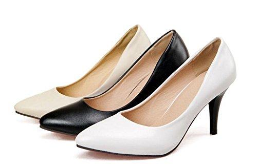 OL Pumps Einfache Scarpin Stilett High Heel Spitz-Toe Frauen-Besatzung Casual Büros Schuhe Europa Größe Innerhalb Big Size 31-43 Beige