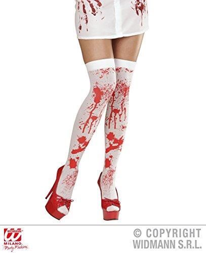 1 Paar STRÜMPFE - KRANKENSCHWESTER - blutig, Überknie Overknee Over the Knee Krankenhaus Arzt Chirurg (Und Arzt Paar Krankenschwester Kostüme)