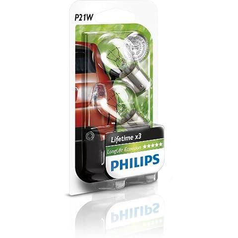 Philips 12498LLECOB2 LongLife EcoVision - Bombillas P21W para luces de freno, de niebla delanteras y traseras y de marcha atrás (2 unidades)
