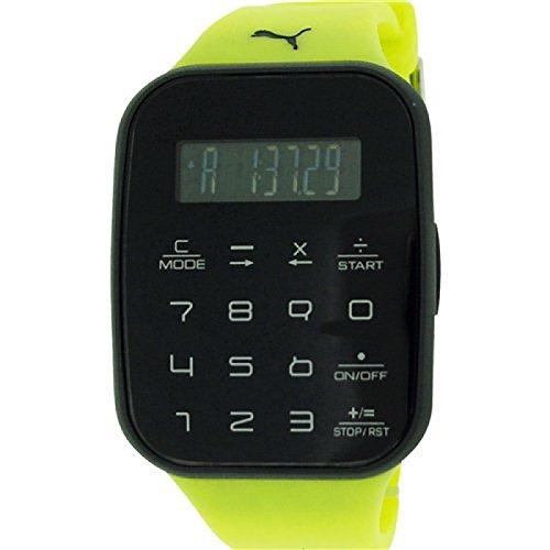 Puma Unisex Calculus Digital Chronograph Yellow Plastic Strap Watch PU910531003