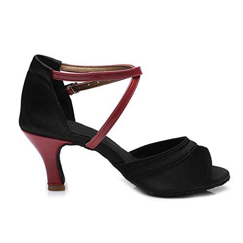 HIPPOSEUS Donna Ballroom Scarpe da ballo/sala da ballo scarpe/Scarpe da ballo latino standard di Raso,Modello-IT221 7CM Rosso