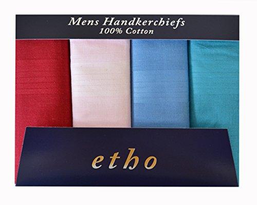 4 pack plaine de mouchoirs blancs de Messieurs hommes & imprimé Tartan, Paisley & teints mouchoirs, paquet-cadeau PM75