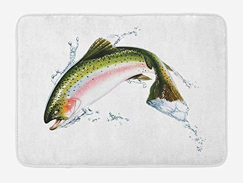 """AoLismini Fisch Badematte, Lachs aus \""""Wasser springen, die Spritzer Cartoon Airbrush photorealistic, Teppich für das Bad mit Rutschfester Unterlage gestopft, multicolormat"""