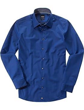 Strellson Premium Herren Hemd Baumwolle & Mix Modisch Unifarben, Größe: 40, Farbe: Blau