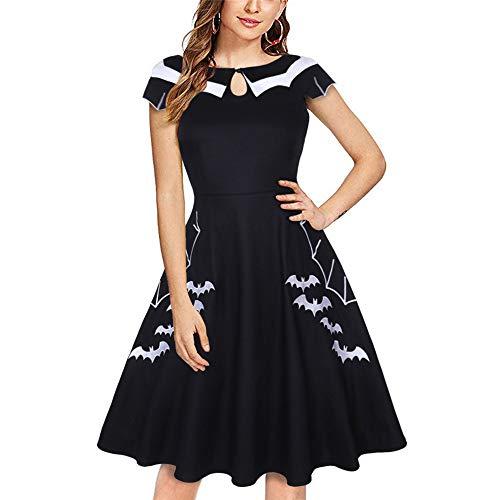 Kostüm Pop Rock 80er Jahre - ZHJA Europäischen Und Amerikanischen Frauen 2019 Halloween Fledermaus Bestickt XL Kleid