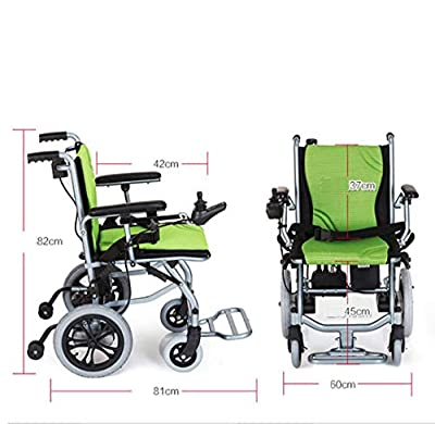 Electric Wheelchair Foldable Elderly Disabled Aid Car Elderly Intelligent Compact Automatic Portable Lightweight Scooter Free Installation (Green)
