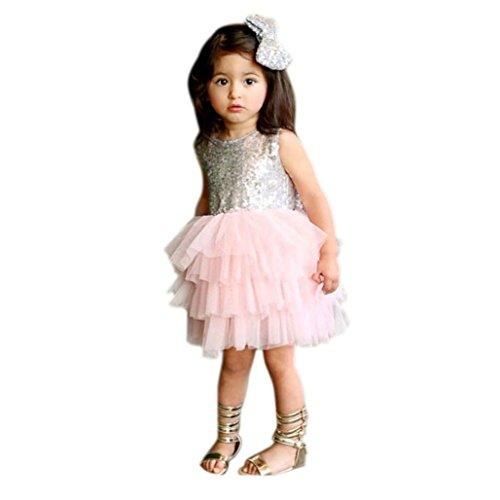 Culater® Bambina Fiore Lustrini Vestito Scollato Vestito Formale Dei Vestiti Da Damigella - Festa (3 anni, Rosa)