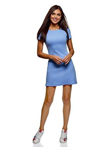 oodji Ultra Damen Kleid Basic mit Rundhalsausschnitt, Violett, DE 32 / EU 34 / ()
