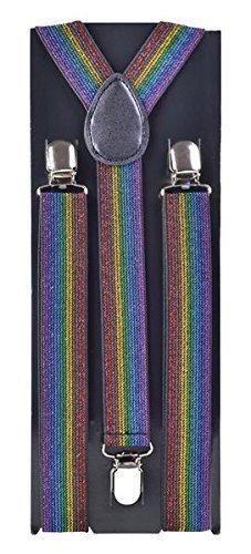 Bristol Novelty BA246Rainbow Shimmer Material Hosenträger, mehrfarbig, one size
