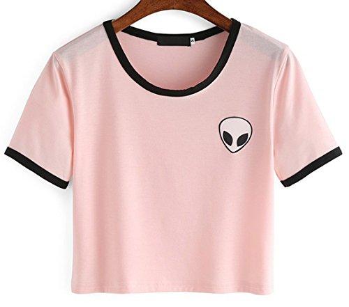 Lannorn Damen Sommer Short Sleeve Runden Hals Aliens Shirt Tee, Hemd Niedlich Ausgesetzt Nabel lose Print pullover Bluse Lassige Crop Tops. Rosa
