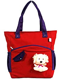 Angel's Women Canvas Red And Black Hand Bag Or Shoulder Bag