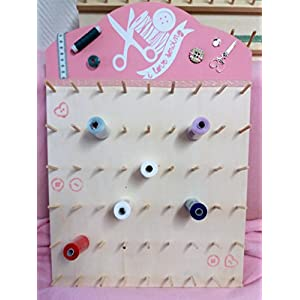 Ausgefallener Garnrollenhalter aus Holz für 54 Spulen *Rosa - Natur Sewing-Look Neu