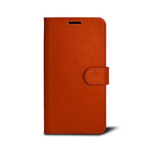 Lucrin - Étui Portefeuille pour iPhone 7 Plus - Cognac - Cuir Lisse Orange