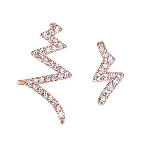 Clearine Damen Ohrringe 925 Sterling Silber CZ Lightning Bolt Asymmetrische Ohr Vine Crawler Post Ohrringe Klar Rose-Gold-Ton -