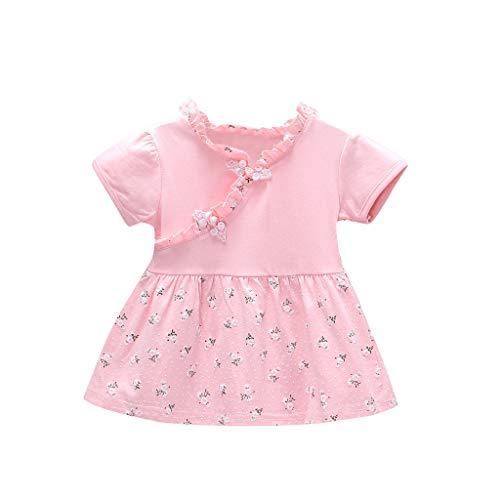 squarex  Mädchen Kurzarm Kleid Kleinkind Rüschen Bogen Rock Chinese Knot Flower Floral Baby Print Kleid Kinder Casual Rock Komfortabel -