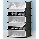 Zizer 5 Layer DIY Plastic Shoe Storage Rack Organizer with Cover for Home Office/Multi-Purpose Cabinet for Toys Clothes Books (5 Cube/Black)