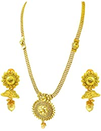 Suratdiamond Traditional Round Shaped Colored Stone And Gold Plated Necklace Earring Fashion Jewellery Set For...