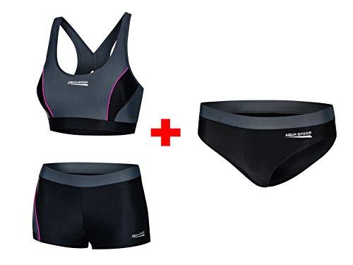 Aqua Speed® Fiona Set - Tankini + Bikinihose | Zweiteiler | VITA-Gewebe | Resistent gegen Chlor und Sonnencreme/-öl, Größe:38, Farbe:139 / Black Gray Pink + Hose