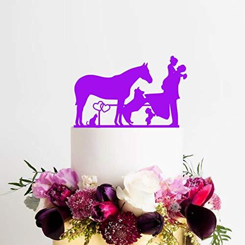 Andrea1Oliver Farm Cake Topper mit Pferd Cake Topper mit Hund Topper mit Katze Topper mit Farm Ranch Topper Hochzeitstorte Topper mit Pferd Farm Ranch (Topper Pferd Hochzeitstorte)