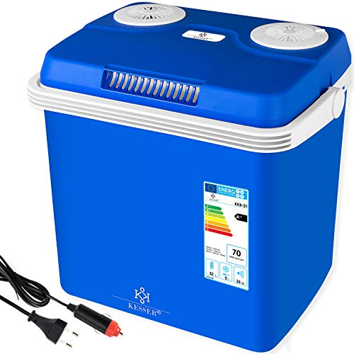 Kesser® 32 Liter Kühlbox   KÜHLT und WÄRMT   Thermo-Elektrische Kühlbox 12 Volt und 230 Volt   Mini-Kühlschrank   für Auto und Camping   EEK A++   Blau  