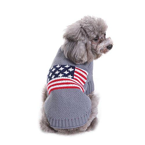 Hund Warm Jumper Pullover American Flag Muster Hund Pullover Hund Warm Jumper Mantel im Herbst Frühen Winter Welpen Jacke Hunde Kleidung (Welpen-flag)
