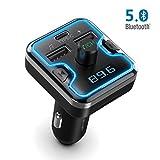 TECKNET Bluetooth 5.0 Trasmettitore FM, Bluetooth Trasmettitore per Auto con 7 Luci Ad Anello RGB e QC 3.0 o 5 V/3 A Porta di Ricarica Rapida, Chiamata in Vivavoce per Una Guida Sicura