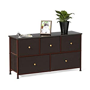 EPHEX Kommode Aufbewahrung, Schrank Organizer mit 5 Schubladen für Schlafzimmer, Wohnzimmer und Flur, Schubladenschrank aus Metall, MDF und Stoff,100 x 30.3 x 55 cm
