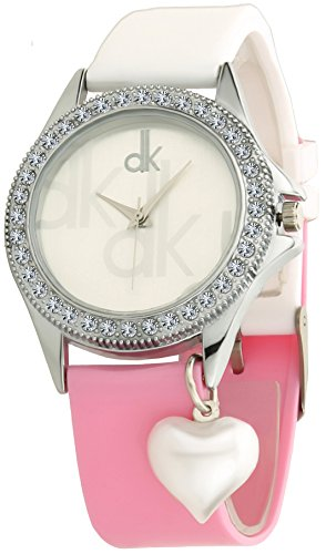 Dk White Heart Pearl Dangle Stones Studded Analogue Jeans & Top Combination Soft Strap Analogue White Dial Womens Watch-Dk01164