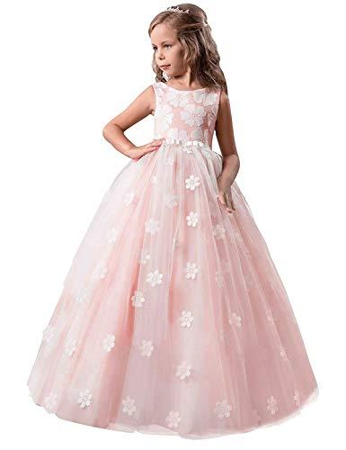 NNJXD Mädchen-Kind-Ballkleid Tulle Prinzessin Hochzeit Partei-Abschlussball-Kleid-Größe (170) 13-14 Jahre Rosa