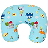 Baby Grow Nursing Pillow With Slipcover Cotton Feeding Pillow And Positioner With Baby Printed Slipcover Baby Feeding Pillow For Mother (Sea Blue)