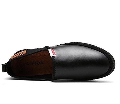 Comodissimi mocassini di pellegrini Slip-ons in pelle Bassa Top antiscivolo Wareable Moda Soft suole Scarpe da svago UE taglia 39-44 Black