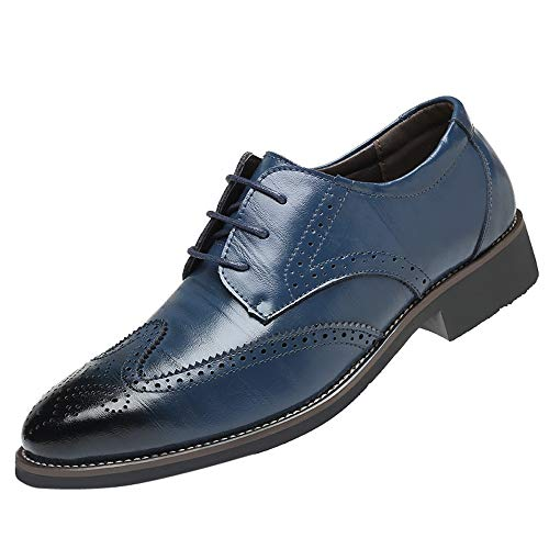 koperras Mens British Oxford Shoes, Men's Fashion Casual Classic Breathable Lace Up School Pointed Toe Shoes(US 10.5,Navy) -