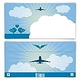 10 x Briefumschläge DIN Lang 220 x 110 mm First Class Flugticket Blau Selbstklebend ohne Fenster