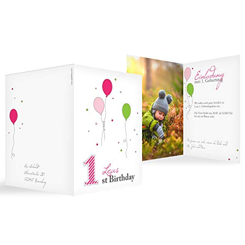 Hochwertige Einladungskarten zum Kindergeburtstag 'Erste Party' in Rosa   Personalisierte Geburtstagskarten inkl. Druck Ihrer Texte   15 Stück   Einladungen Kinder Geburtstag - Jungen & Mädchen