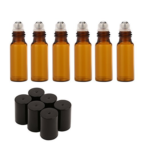 Mavogel 5ml Amber Glass Roller Bottles Set Of 6 Roll Bottle With Metal Ball For Essential Oil,Aromatherapy,Perfumes And Lip Balms