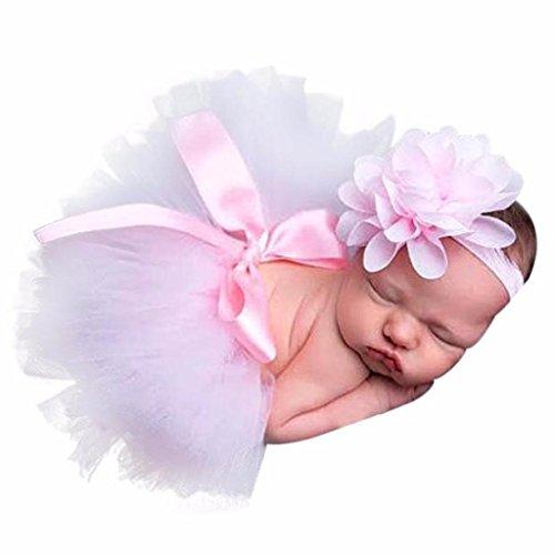 ❤️❤️Neugeborenes Baby Mädchen Jungen Kostüm Foto Fotografie Prop Outfits Rosa Prinzessin Rock + Blume Stirnband (Rosa, 0-1 Jahre alt)